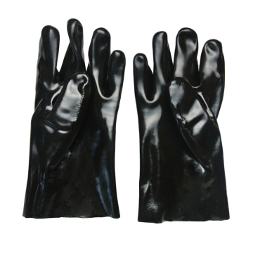 Black PVC dipped gloves smooth finish interlock liner