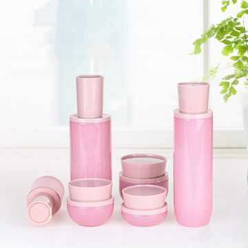 Pink glass glass cosmetic bottle and jar