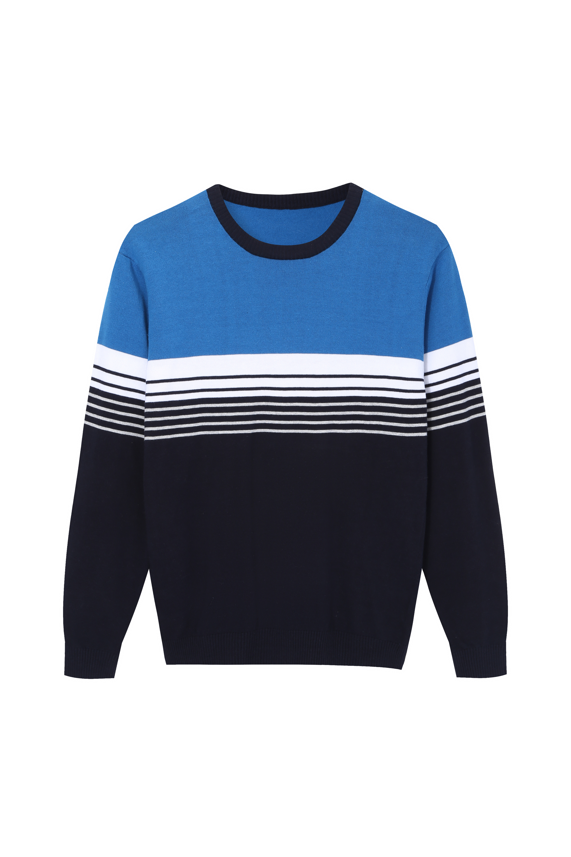 Men's Knitted Multi color Striped Crewneck Sweater