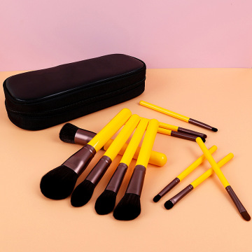 12 piece yellow synthetic Cosmetic brush set professional