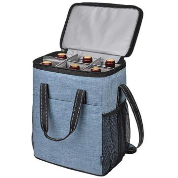 Insulated Thermal 6 bottles portable wine cooler bag