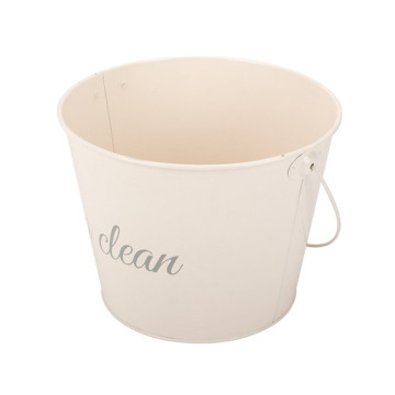 Cream White Coated Water Bucket with Handle
