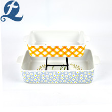 Hot Selling Unique Printed Rectangular Baking Tray with Handle