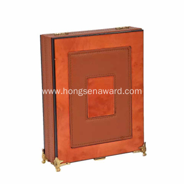 Leather crystal luxury wooden box