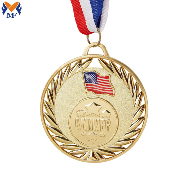 Personalized custom metal flag medal