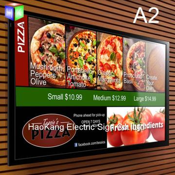A2 restaurant menu board signboard for fast food menu led backlit poster frame light box advertising