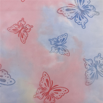 Iridescent Diamond Tulle Mesh Fabric with Butterfly Printed