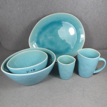 Ceramic Reactive Crackle glaze Dinnerware Set