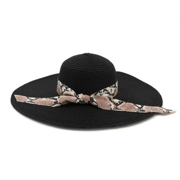 Lady silk ribbon custom bowknot beach straw hat