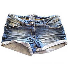 Women's Washed Distressed Denim Black Shorts Hotpants