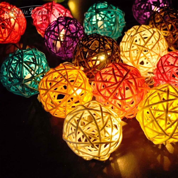 rattan ball cherry string light