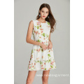 fashion bubble lace ladies printed polyester crepe dress