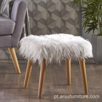 Tamborete de sala de estar meados do século Faux Fur Otomano Branco
