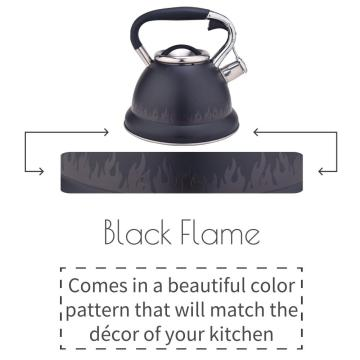 Black Flame Pattern Stainless Steel Whistling Teapot