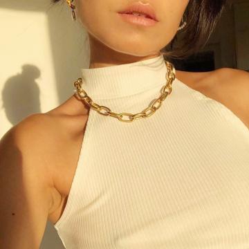 CERDIU Metal Choker Necklace Fashion Link Chain Choker Necklace For Women Charm Necklace Punk Collares Night Club Jewelry
