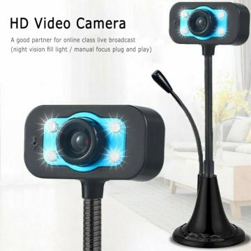 HD Computer Webcam With Microphone USB Web Camera Built-In Sound-absorbing For Computer Office Study Game Rotation Webcam
