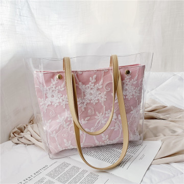 Clear PVC Tote Bag Embroidery patch Flowers Handbag
