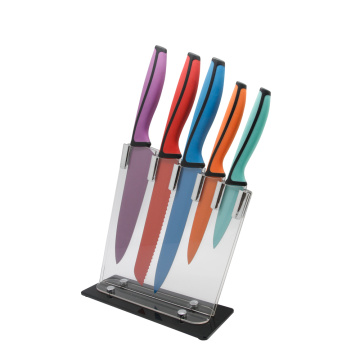 Coating knife blade set with acrylic block
