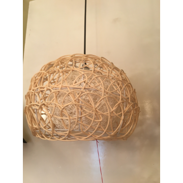 Bamboo and rattan semicircular chandelier