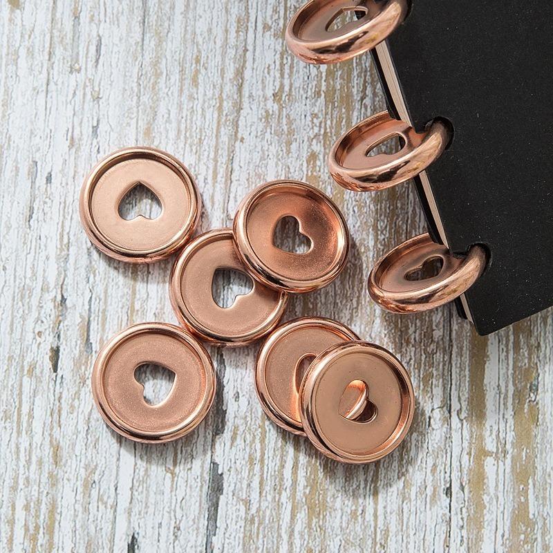 50PCS Mushroom Hole Button Disc Loose-leaf Flip Notebook Binding Buckle Office Plastic 24MM Binder Rings Discs