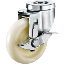 2.5inch Hollow Rivel Swivel Round PP Without Cover Casters With Side Brake
