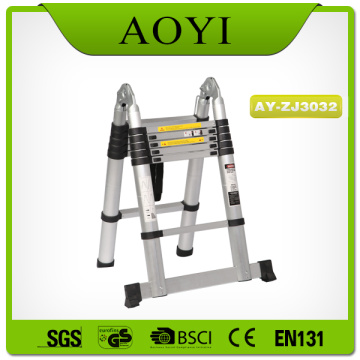 Double side steps aluminum telescopic ladder