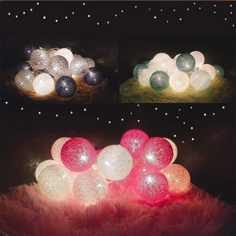 cotton ball battery operated string lights