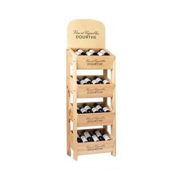 Custom  4 Tier Wooden Wine Display Stand