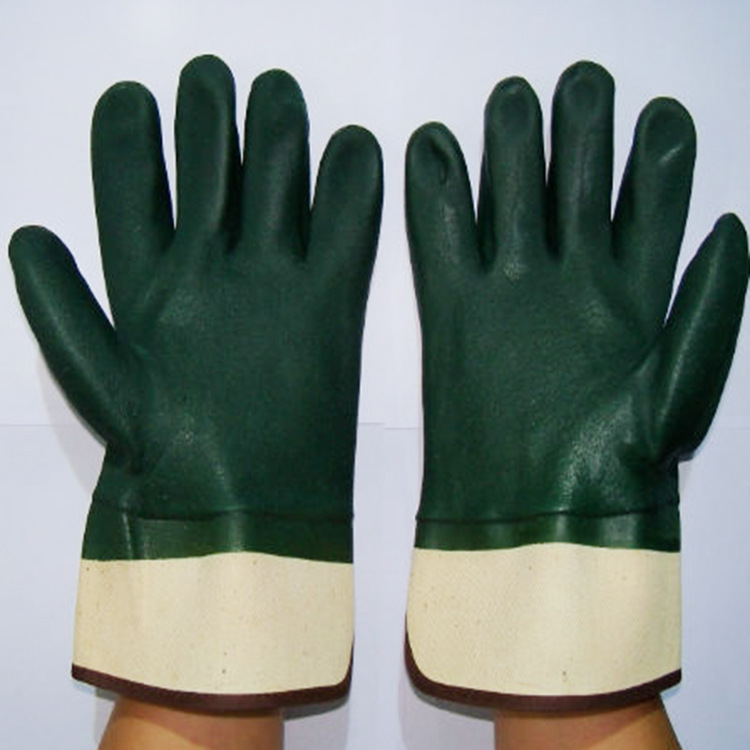 Green PVC impregnated sandy finish safety cuffs