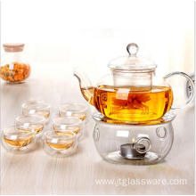 pyrex glass teapot set with six cup