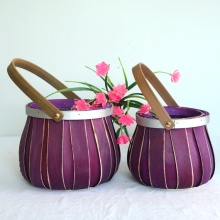 drum-like wood chip flower  basket