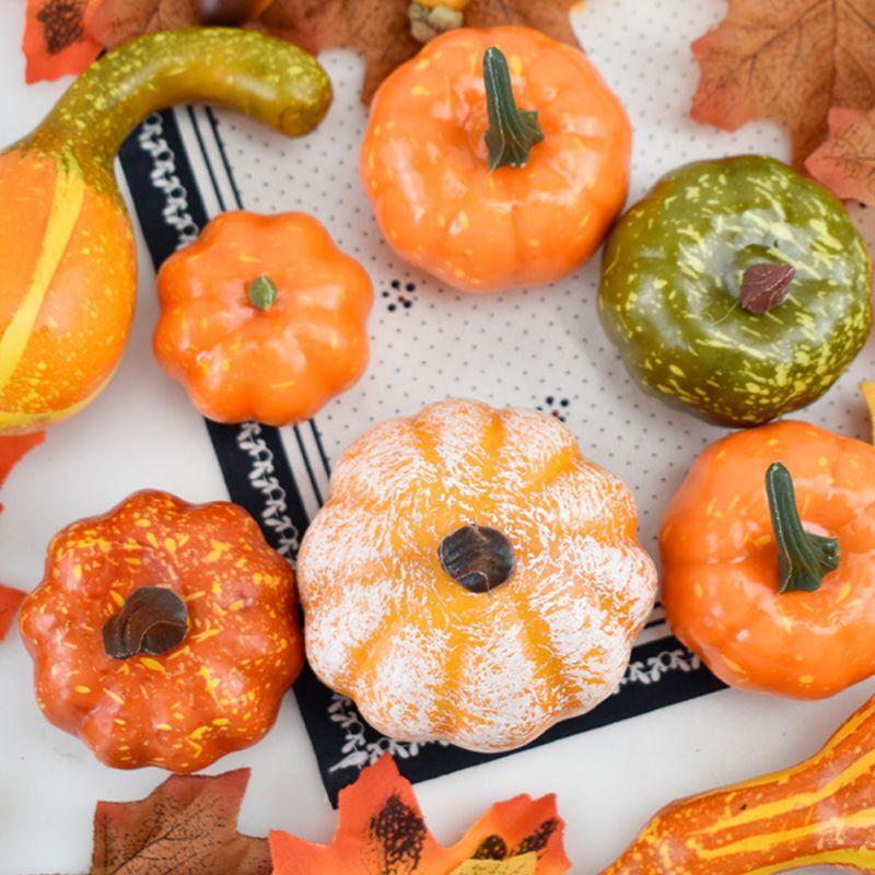 50Pcs/Set Simulation Pumpkin Golden Autumn Pumpkin Halloween Pumpkin Thanksgiving Decoration Pumpkin Props