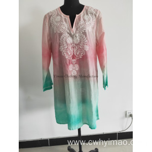 Woven middle sleeve long blouse