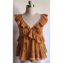 Crepe Ruffle Sweet Blouse Viscose Dobby Ladies Top