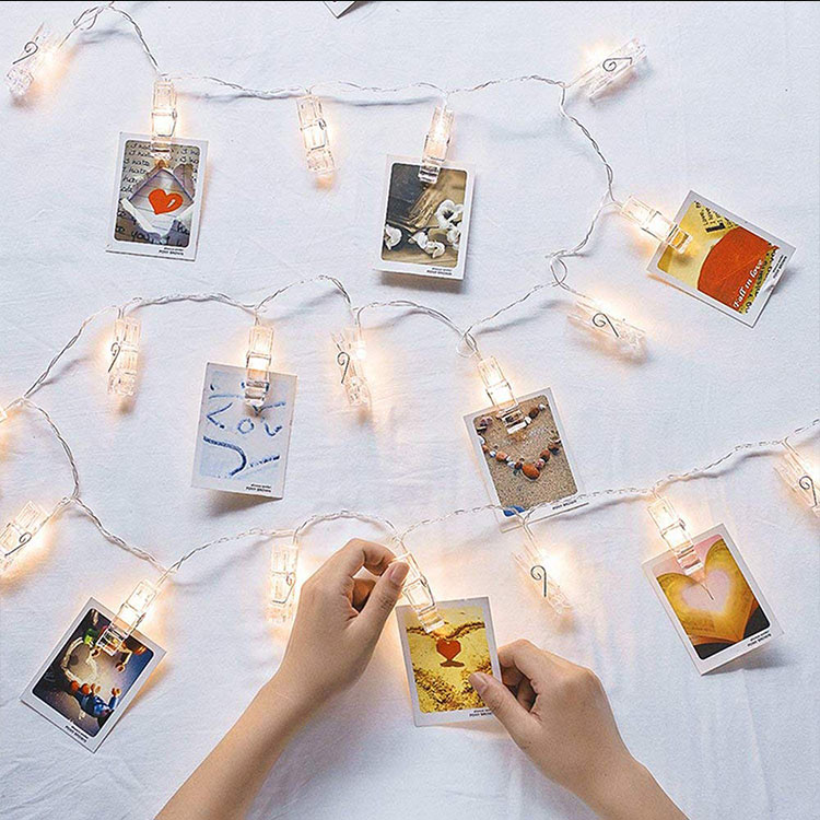 led fairy lights transparent cable led photo clips