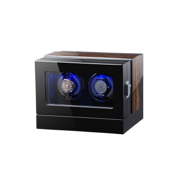 Black Finish Watch Winder With PU Leather Interior