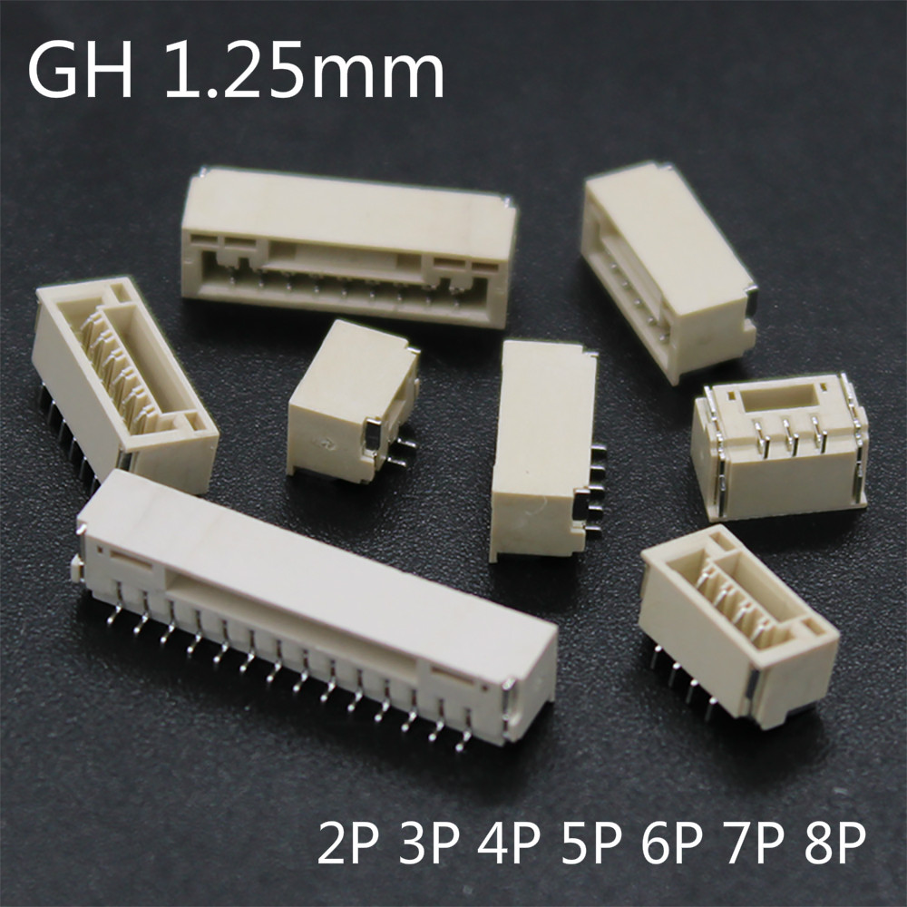 20PCS/LOT GH 1.25mm lying with lock connector SMT Horizontal 2P 3P 4P 5P 6P 8P JST A1257
