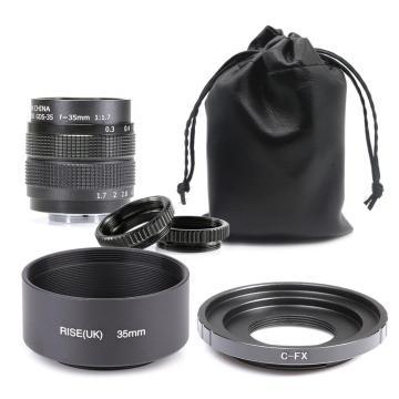 Fujian 35mm f/1.7 APS-C CCTV Lens+adapter ring+2 Macro Ring+lens hood for Fujifilm X Mount Mirroless Camera XT10/XT20/XT30/X100F
