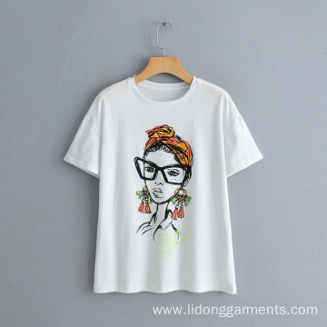 New Nordic Beauty Character Printed Short Sleeve T-shirt