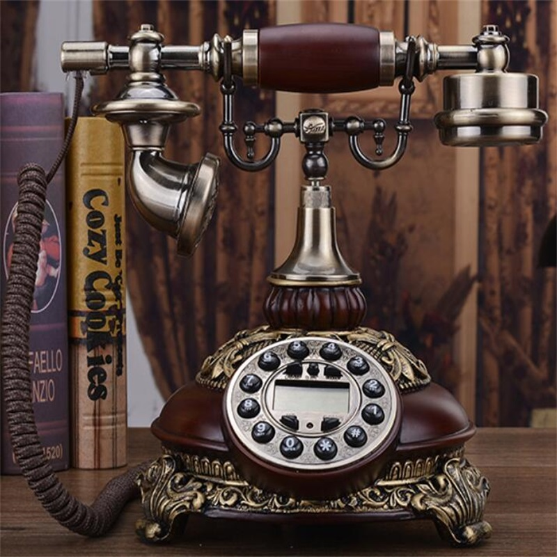 Antique Corded Telephone Fixed Digital Retro Phone Button Dial Vintage Decorative Solid Wood Telephones Landline Home Office