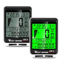 WEST BIKING LED Waterproof Bicycle Computer Wireless 5 Language Cycling Bike Odometer Stopwatch Speedometer 2.1in Bike
