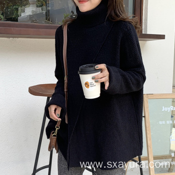 2020 winter Irregular turtleneck sweater women