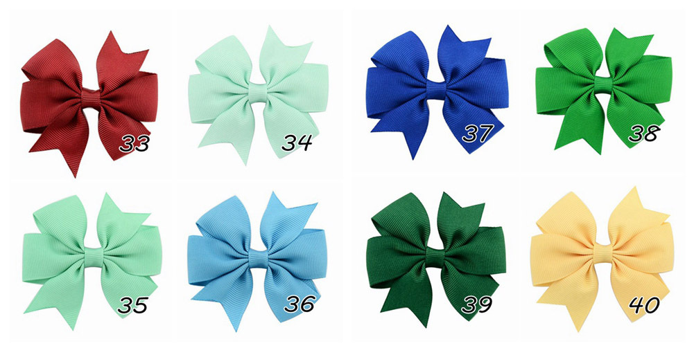 Plain ribbed ribbon fish-tail bow hair clip (7)