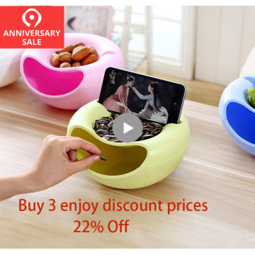 Creative Lazy Fruit Dish Snacks Nut Melon Seeds Bowl Double Layer Plastic Candy Plate Peels Shells Storage Tray Desk Home Decor