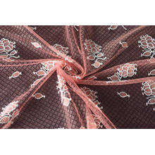 Nylon Polyester Poppy Pattern Lace Fabric