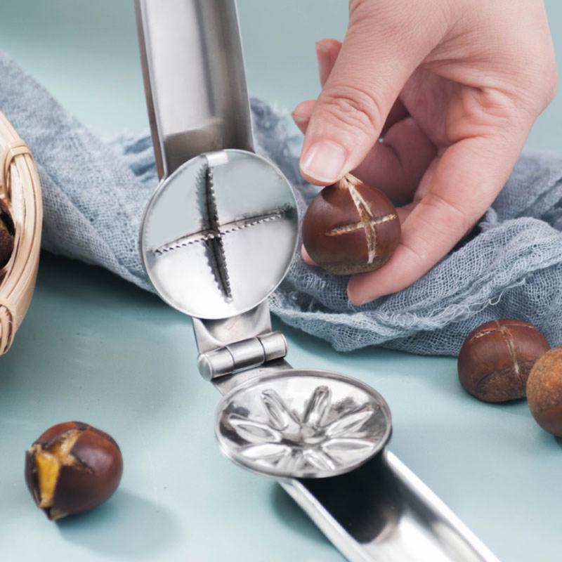 Walnut Nut Cracker Stainless Steel 2 In 1 Chestnut Clip Walnut Pliers Metal NutCracker Sheller Nut Opener Kitchen Tools Cutter
