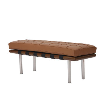 Classic Indoor Barcelona Bench in Brown Leather