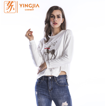 Fashion Womens Autumn Deer Pattern Printing Sweatshirts