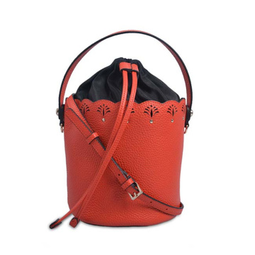 Pouch with Drawstring Burgundy Leather Bucket Bag