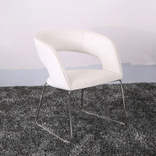 High Qualtiy Leather and Metal White Dining Chairs